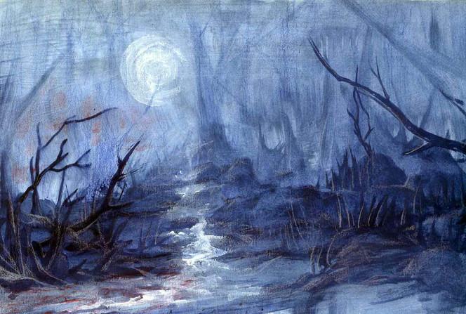 Wasser, Bach, Mond, Äste, Schein, Landschaft