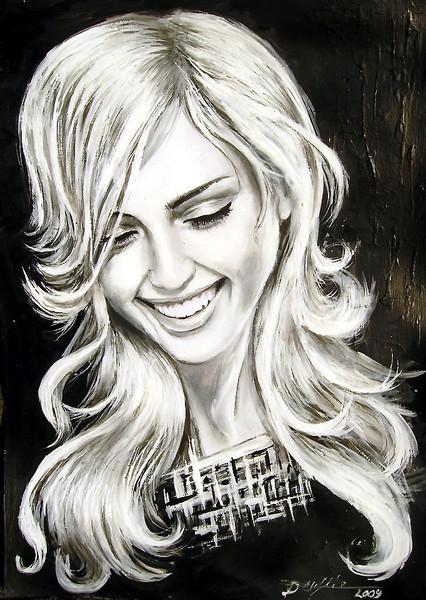 Malerei, Schön, Haare, Mädchen, Frau, Blond