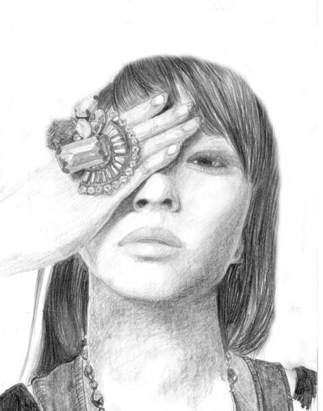 Zart, Ring, Hand, Verdekt, Zeichnungen, Portrait