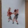 Mann, Boxen, Kampf, Malerei