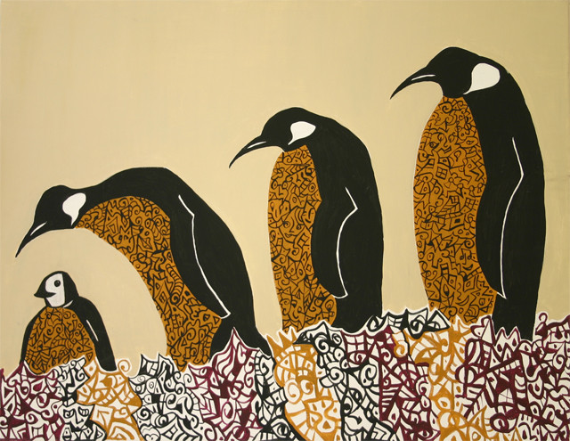 Acrylmalerei, Pinguin, Malerei, Tiere, Spaziergang