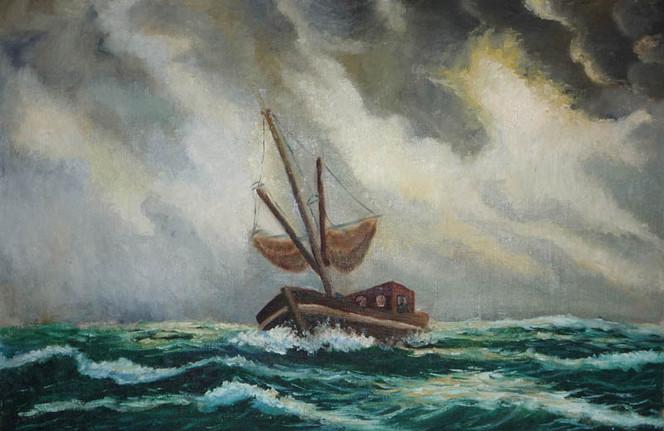 Fischer, Ostfriesland, Wasser, Gemälde, Schiff, Ölmalerei