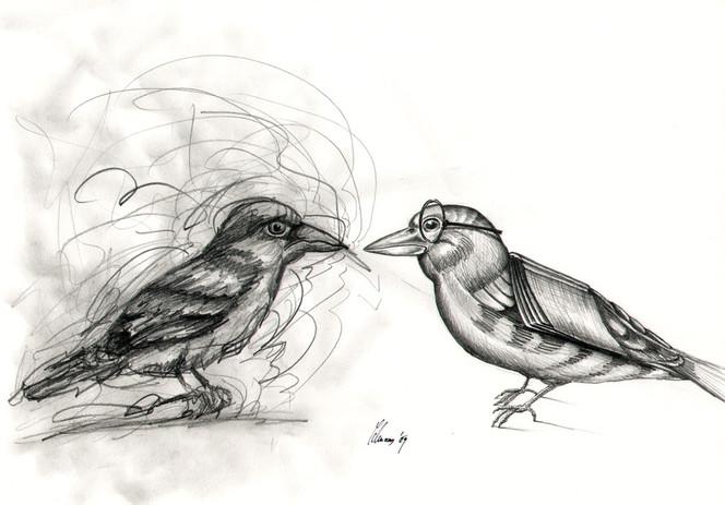 Nonsens, Zeichnung, Cartoon, Skizze, Fink, Vogel