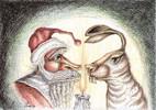 Alter Sack & Junger Hüpfer - fineliner illustration karikatur nonsens osterhase ostern sack weihnachten weihnachtsmann zeichnung