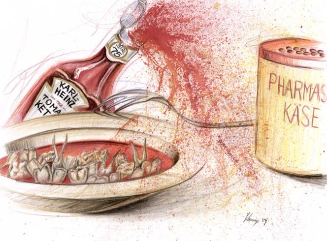 Karikatur, Pasta, Buntstiftzeichnung, Ketchup, Polychromos, Zähne