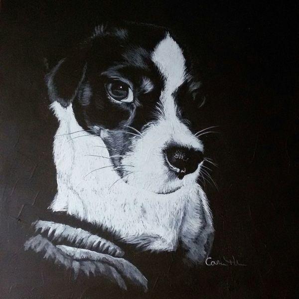 Stillleben, Russel, Mix hund portrait, Tiere, Malerei