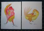 Vogel, Rot, Gelb, Malerei