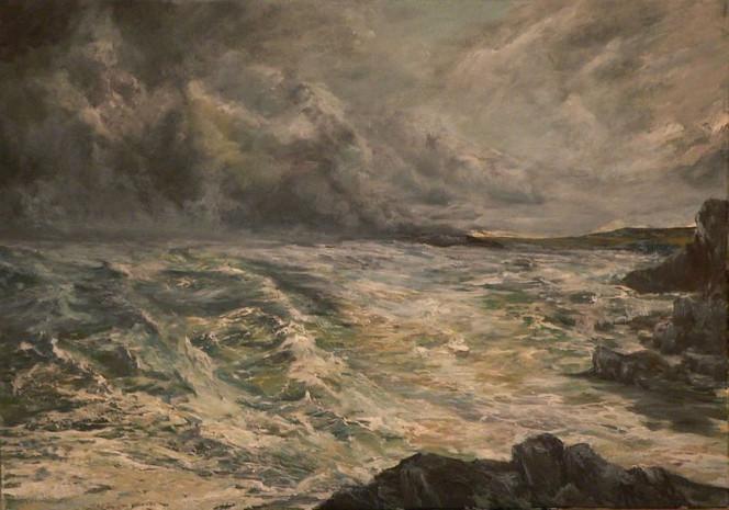 Meer, Wolken, Landschaft, Malerei, Sturm