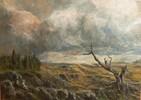 Landschaft, Berge, Baum, Wolken