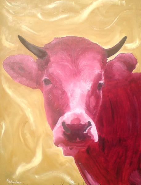 Malerei, Kuh, Rot