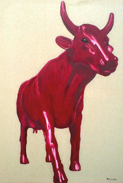 Rote kuh 2 bild kunst von andreas schmelzer bei kunstnet - Rote wohnzimmerwand ...