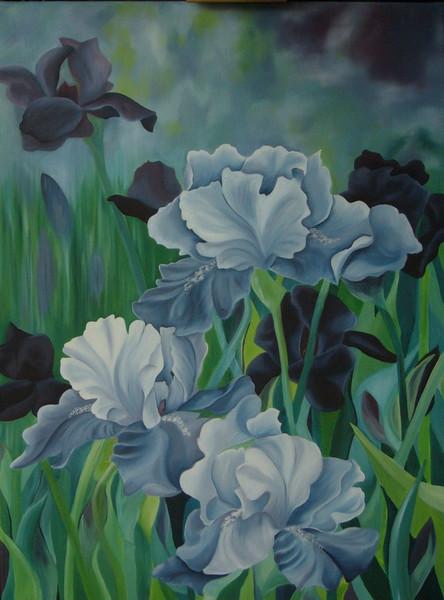 Iris, Wiese, Blumen, Ölmalerei, Blüte, Blau