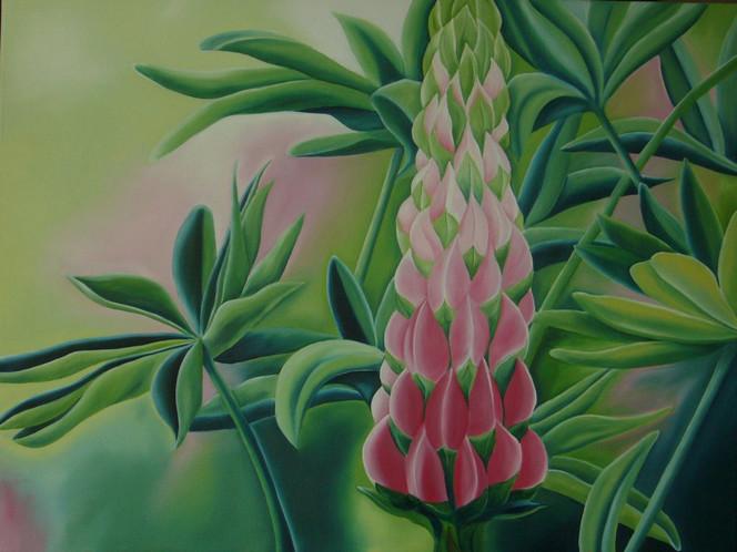 Lupinen, Grün, Ölmalerei, Blumen, Blüte, Malerei