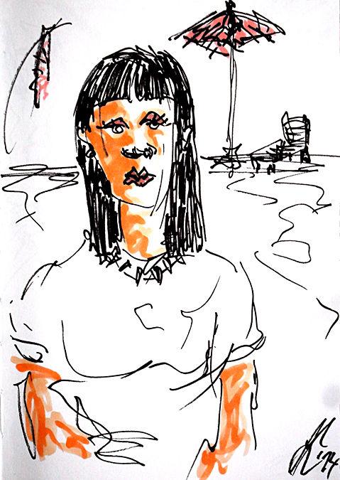 Strand comic schwarz weiß  Bild: Zeichnungen, Comic, Marlene, Strand von Adriana Koska bei KunstNet