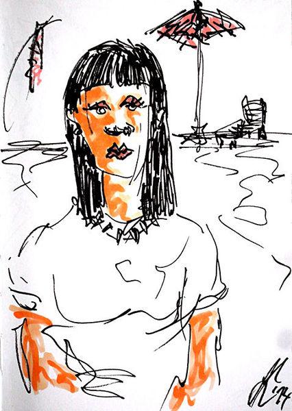 Zeichnungen, Goth, Strand