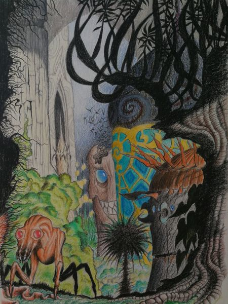 Außerirdische landschaft, Ruine, Fremdes wesen, Zeichnung, Zeichnungen