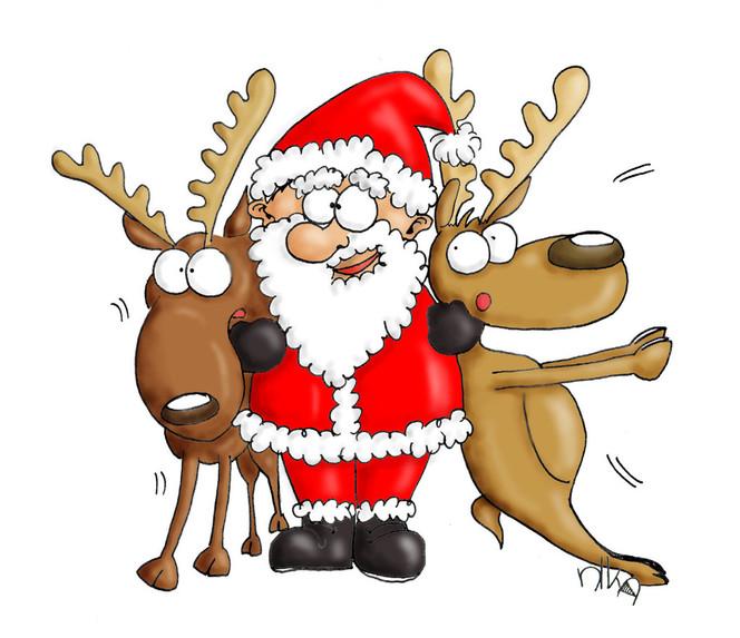 Weihnachtsmann knuddelt