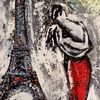 Mann, Eiffelturm, Frau, Paris