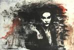Acrylmalerei, Spachtel, Rot schwarz, Tusche