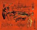 Rot schwarz, Spachteltechnik, Tanz, Geige