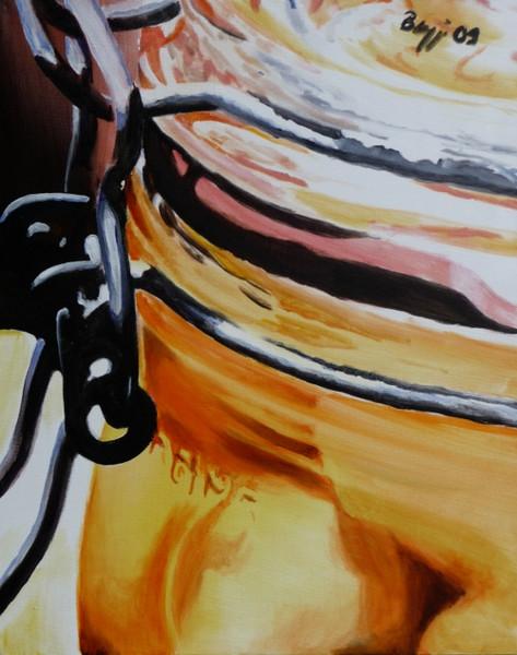 Einmachglas, Obst, Ausschnitt, Malerei, Stillleben