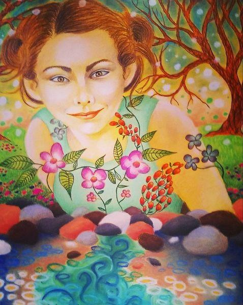 Kunstwerk, Surreal, Blumen, Illustration, Natur, Buntstiftzeichnung