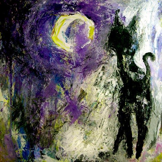 Deutsch, Schwarze katze, Illustration, Traum, Schwarz, Nacht