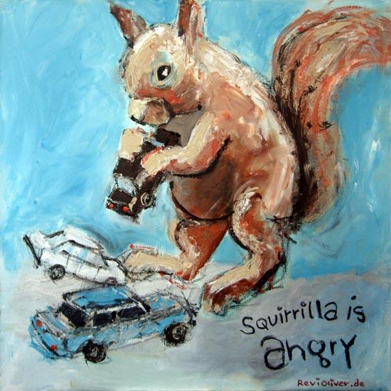 Glückwunschkarte, Zeichnung, Auto, Weihnachten, Lachen, Eichhörnchen