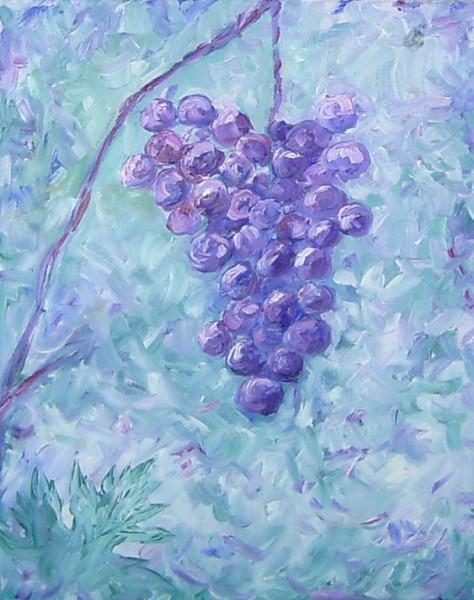Malerei, Stillleben, Weintrauben