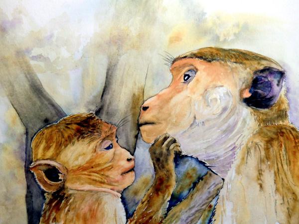 Affe, Liebe, Tiere, Tierportrait, Aquarell