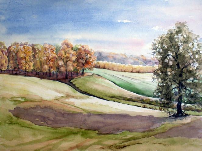 Waldrand, Dahlener, Landschaft, Heide, Herbst, Aquarellmalerei