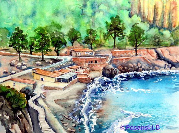 Mallorca, Meer, Bucht, Calobra, Aquarell