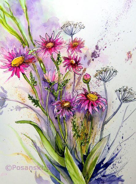 Margriten, Blumen, Aquarellmalerei, Margerite, Aquarell