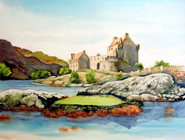 Burg, Schottland, Felsen, Aquarell
