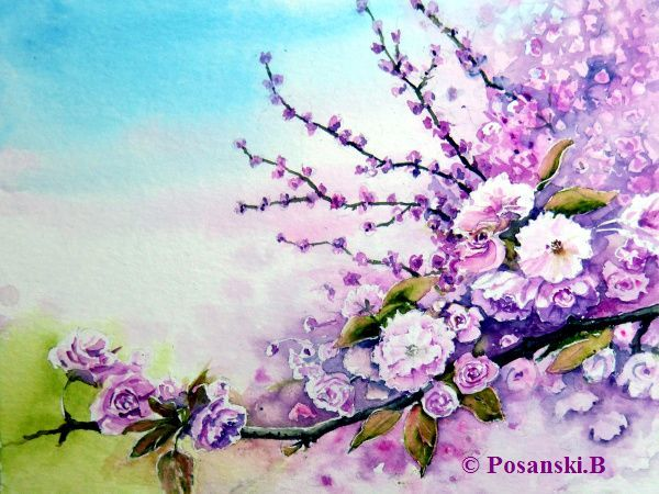 Frühling, Blumen, Baumblüte, Aquarell