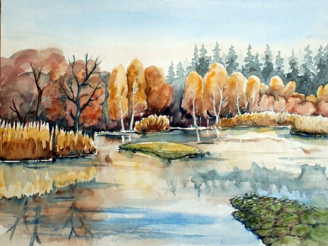 Dübener, Aquarellmalerei, Heide, Landschaft, Herbst, Moor