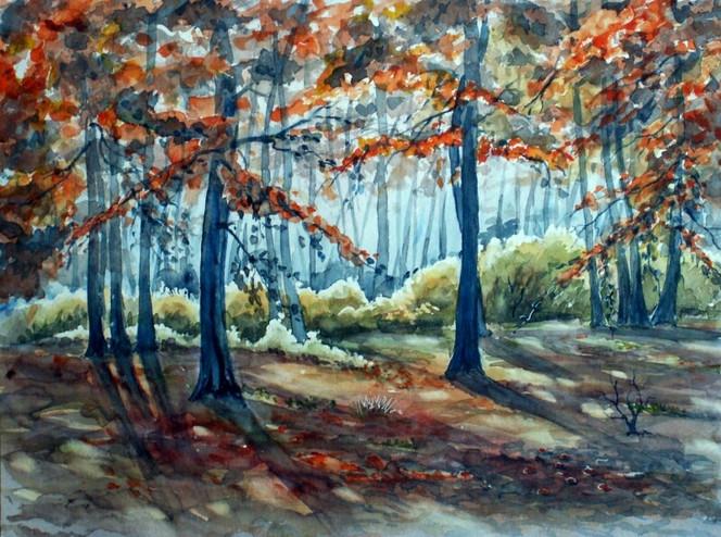 Heide, Landschaft, Herbst, Wald, Aquarellmalerei, Aquarell