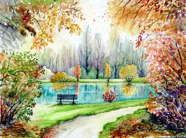 Herbst, See, Park, Aquarell, Herbstlandschaft, Vi