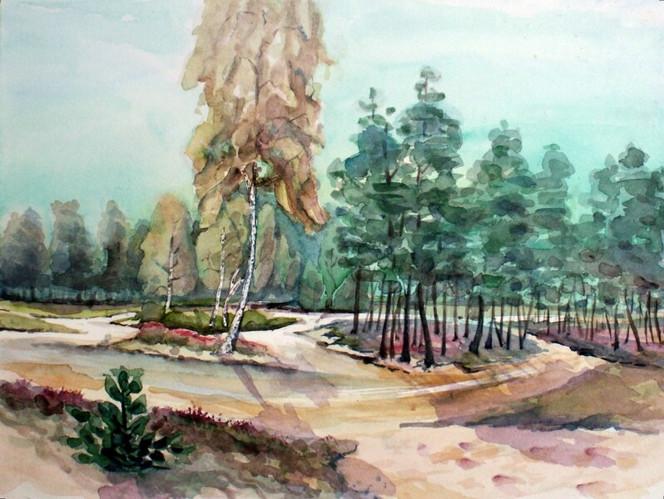 Wald, Aquarellmalerei, Landschaft, Dünen, Aquarell, Aquarelle landschaften