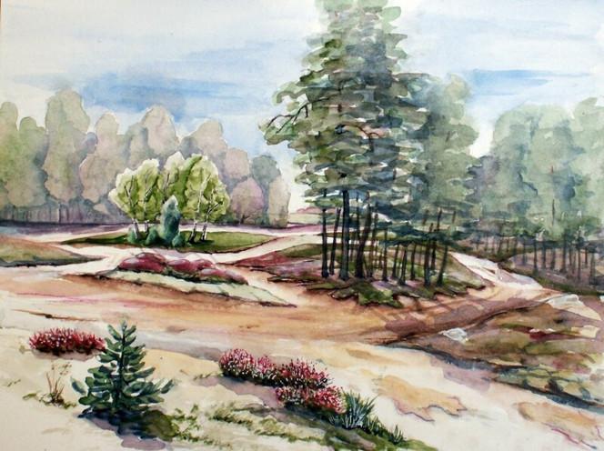 Wald, Ostsee, Aquarellmalerei, Landschaft, Aquarell, Dünen