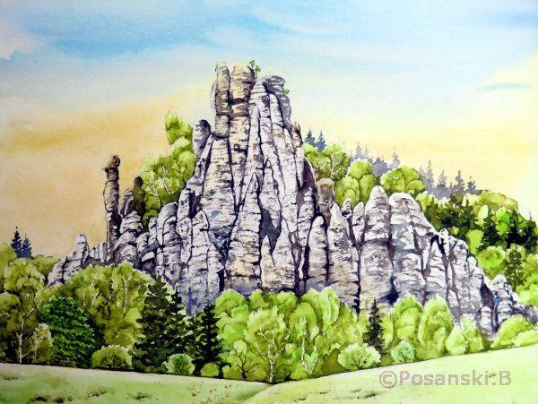 Felsformation, Aquarellmalerei, Elbsandsteingebirge, Landschaft, Kleine gans, Frühling