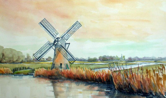 Mühle, Holland, Aquarellmalerei, Landschaft, Aquarell