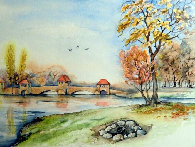 Herbst, Landschaft, Palmgartenwehr, Leipzig, Aquarell, Aquarelle architektur