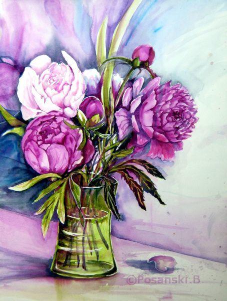 Blumen, Pfingstrosen, Strauß, Aquarell