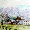 Bauernhof, Berge, Aquarell