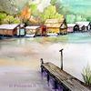 Wasserlandschaft, Bootshäuser, Mecklenburg, Aquarell