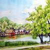 Bootshäuser, Mecklenburg, Landschaftsmalerei, Müritz