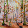 Herbst, Buchenwald, Aquarell,