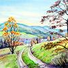 Isargebirge, Landschaft, Herbst, Aquarellmalerei