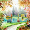 Park, Herbst, See, Aquarell